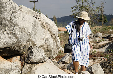 pha, 石頭花園, 人們, 旅行, thailand's, 昆明, 矯柔造作, 婦女, 泰國, ngam, 或者, hin, suan