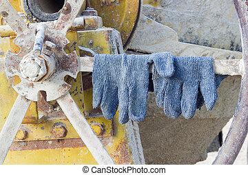 photo., 混和器, 站點, 建設, 手套, 水泥, 對, 水平