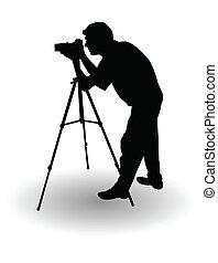 photographer's, 矢量, 黑色半面畫像