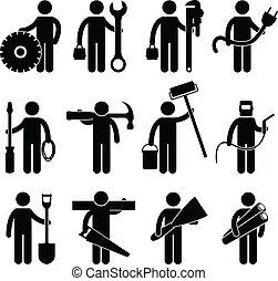 pictog, 工作, 建設工人, 圖象