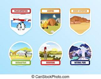 pole., 露營, park., pack., 北方, hills., exloration, 元素, 套間, 背景。, 設計顏色, hiking., 國家, 圖表, 藍色, 集合, 探險, 旅遊業, 卡通, 徽章, 矢量, 拉車, 屠夫, 被隔离