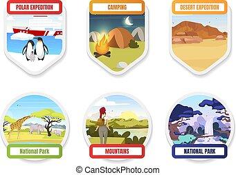 pole., 露營, park., pack., hills., exloration, 元素, 套間, 設計顏色, hiking., 國家, 圖表, antarctica, set., 探險, 旅遊業, 南方, 山, 卡通, 徽章, 矢量, 拉車, 屠夫, 被隔离