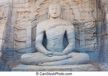 polonnaruwa, 坐, 佛, 雕像, 前面, striated