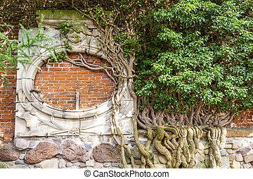 pomerania, 波蘭, 細節, 牆, malbork, 城堡