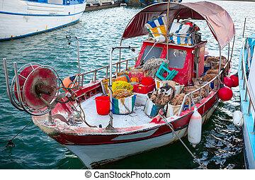 port., 老, 齒輪, limassol, 漁船
