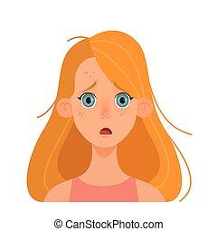 problem., 皮膚, 女孩, 婦女, 丘疹, 悲哀, face.