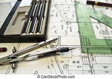 projec, 建筑, 計劃, 技術