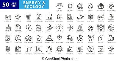 projects., 圖象, 可更新的能量, 稀薄, 綠色, 設計, 你, 能量, 元素, 矢量, 集合, icons., 插圖, 線, technology.