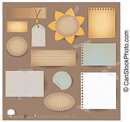 projects), 矢量, scrapbooking, 明信片, designs., 空白, 你, (variety, 布局, 紙, 葡萄酒, 碎片, 或者, set: