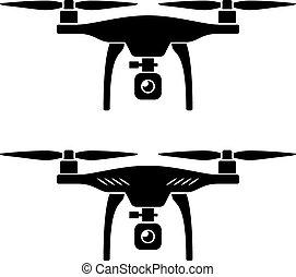 quadcopter, 矢量, rc, 雄峰