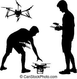 quadcopter, 黑色半面畫像, 插圖, 操作, 矢量, 黑色, unmanned, 人
