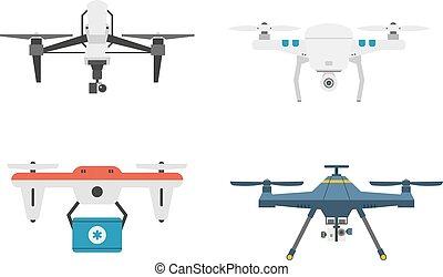 quadcopter, set., 雄峰, 矢量