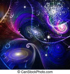 quantum, 空間, 物理學, 時間