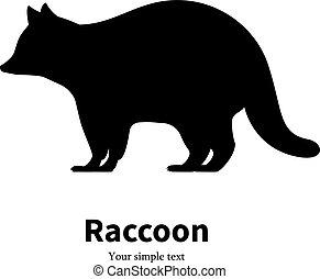 raccoon, 黑色, 矢量, 黑色半面畫像, 插圖