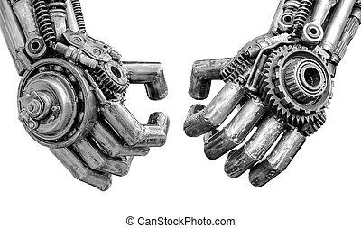 ratchets, 做, 螺栓, 堅果, 機器人, cyber, 金屬, 机械, 手, 或者