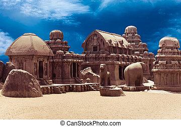 rathas, 印度人, 印度, 單片電路, panch, temple.
