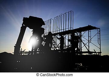 rebar, 在上方, 站點。, 被模糊不清, 建設, 準備, 混凝土, 站點, work., 大約, 環境, 工人, 工作, 工人, 黑色半面畫像, 捆綁