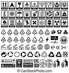 recycling., 集合, elements., 圖象, 包裝, 矢量, 准備好
