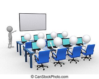 render, 學習, 插圖, 指針, 人, 關閉, 3d, 板, 手, 概念, 教育