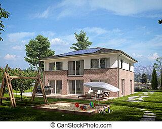 rendering, 現代, townhouse., 3d