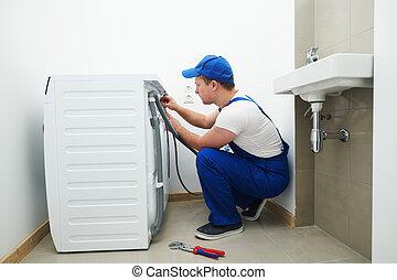 repair., 機器, 連接, 用具, 安裝, 水暖工, 洗滌, 或者