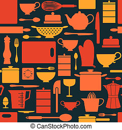 retro, 背景, 廚房