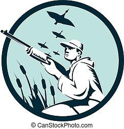 retro, 鴨子, 環繞, 獵人, 步槍