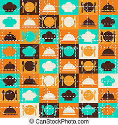 retro, pattern., seamless, 廚房