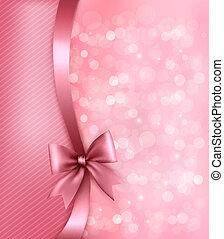 ribbon., 紙, 老, 背景, 假期, 禮物, 矢量, 弓, 粉紅色