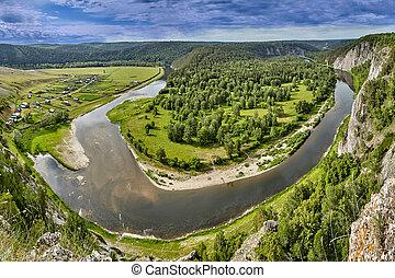 river., 空中, 森林, 看法