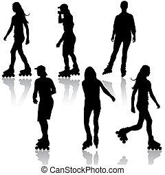 rollerskating., 黑色半面畫像, 矢量, illustration., 人們