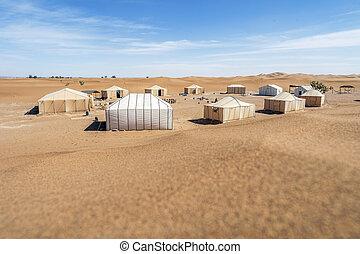 sahara, 摩洛哥, 極少, 沙漠, 沙丘, 圍繞, 帳篷, 好, 非常, 營房