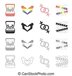 same-sex, 集合, 姿態, 符號, 單色, 性, 風格, 心, 圖象, 愛, 黑色, flags., 股票, 少數, 鮮艷, 符號, web., 彙整, 手, 插圖, 卡通, outline, 矢量