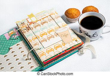 scrapbooking, 咖啡, 薄, 杯子