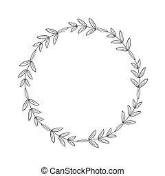 scrapbooking, 記號, 標識語, 框架, 末梢, 簡單, 裝飾, 雅致, 矢量, 邊框, decoration., 線性, 黑色, style., 農舍, 花冠, 插圖, leaves.