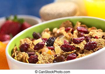 (se, 碗, 一些, 汁, 干燥, 美味, 早餐, others), 香蕉, (cranberries, 堅果, 酸奶, 充分, 大約, wholewheat, 葡萄乾, 水果, 橙, 健康, 薄片, 水果, 混合, 新鮮