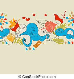 (seamless, pattern), 秋天, 背景, 愛鳥