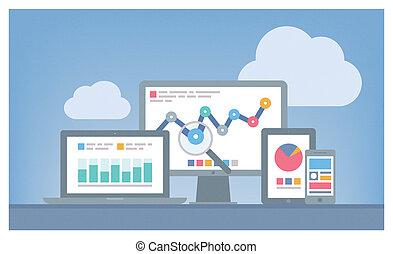 seo, 网, 概念, analytics
