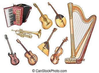 set., 矢量, instruments., 音樂