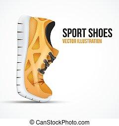 shoes., 跑, 符號。, 明亮, 鬼鬼祟祟的人, 橙, 彎曲, 運動