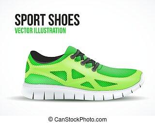 shoes., 跑, 符號。, 明亮, 鬼鬼祟祟的人, 綠色, 運動