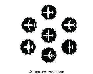 silhouettes., 不同, 矢量, 飛機, 彙整