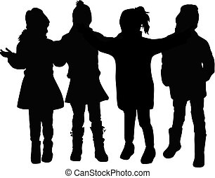 silhouettes., 孩子