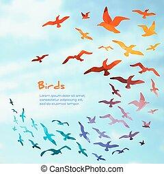 silhouettes., 旗幟, 飛行, 鳥