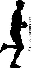 silhouettes., 跑, 矢量, 黑色, illustration.