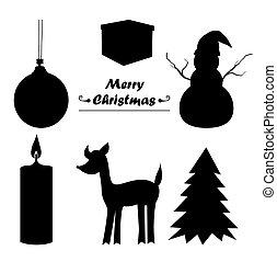 sillhouette, 聖誕節, 圖象