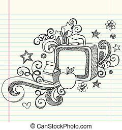 sketchy, lunchbox, 學校, doodles