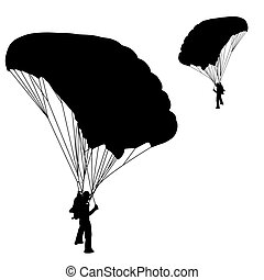 skydiver, 矢量, 黑色半面畫像, 插圖, 跳傘