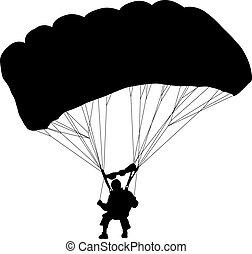 skydiver, 跳傘, 黑色半面畫像, v