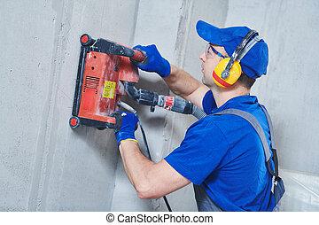 slitting, 鑽石, 電工, work., 牆, 打電報, 機器, 混凝土, 切